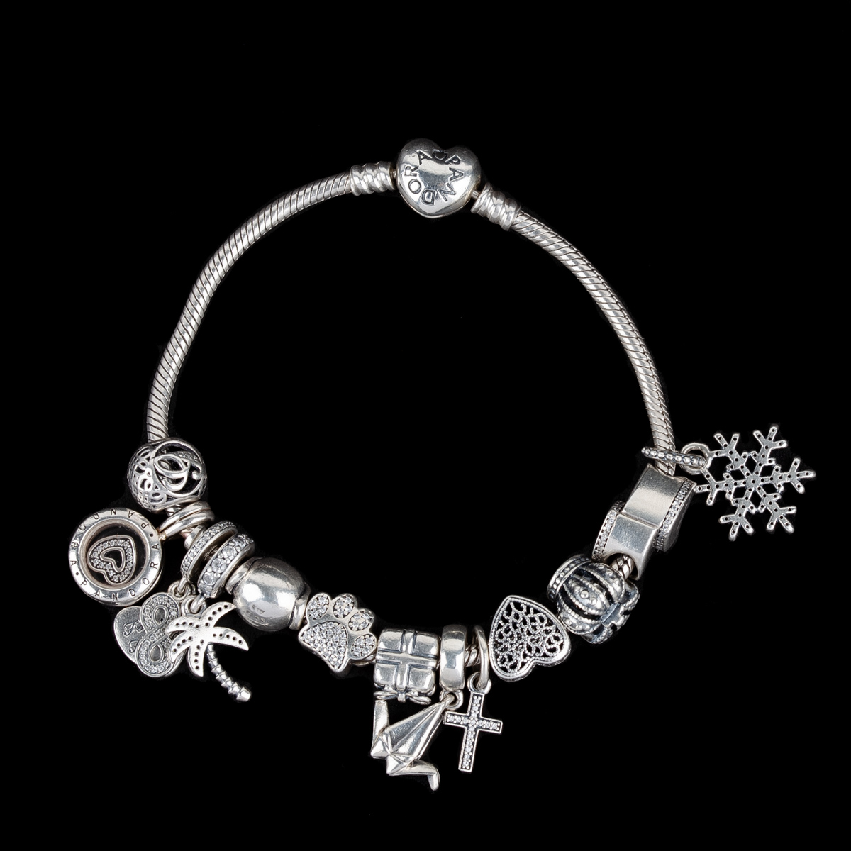 Moments Heart Clasp Snake Chain Bracelet with Fourteen Charms
