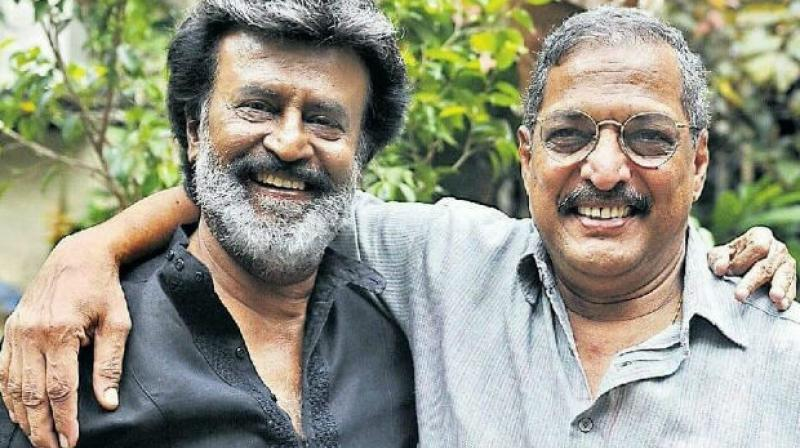 Rajinikanth and Nana Patekar pose for the cameras.