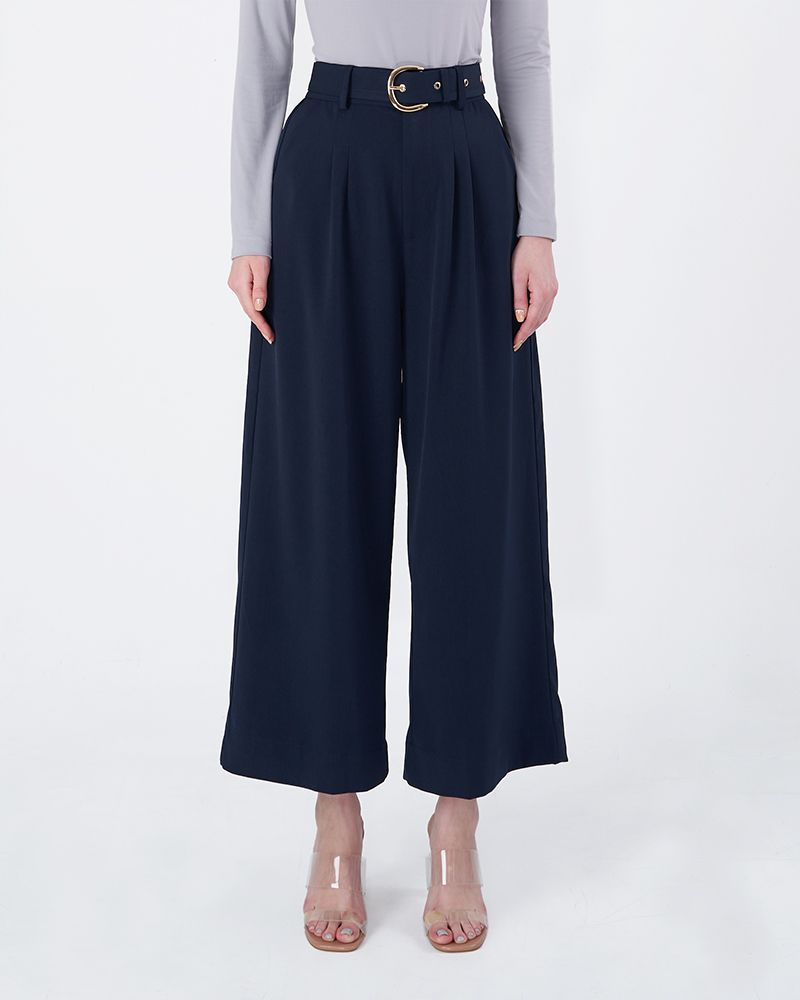 STRAIGHT LEG TROUSERS - SMOKEY DARK BLUE