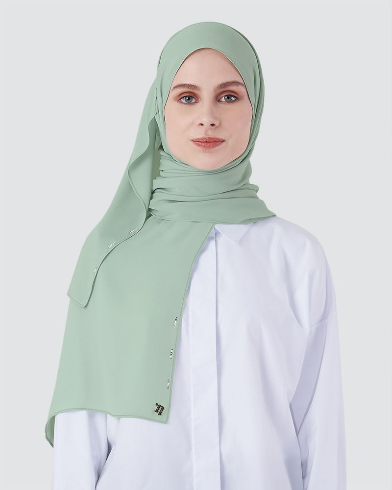 LIYA SHAWL - MEDIUM LIGHT CYAN-GREEN