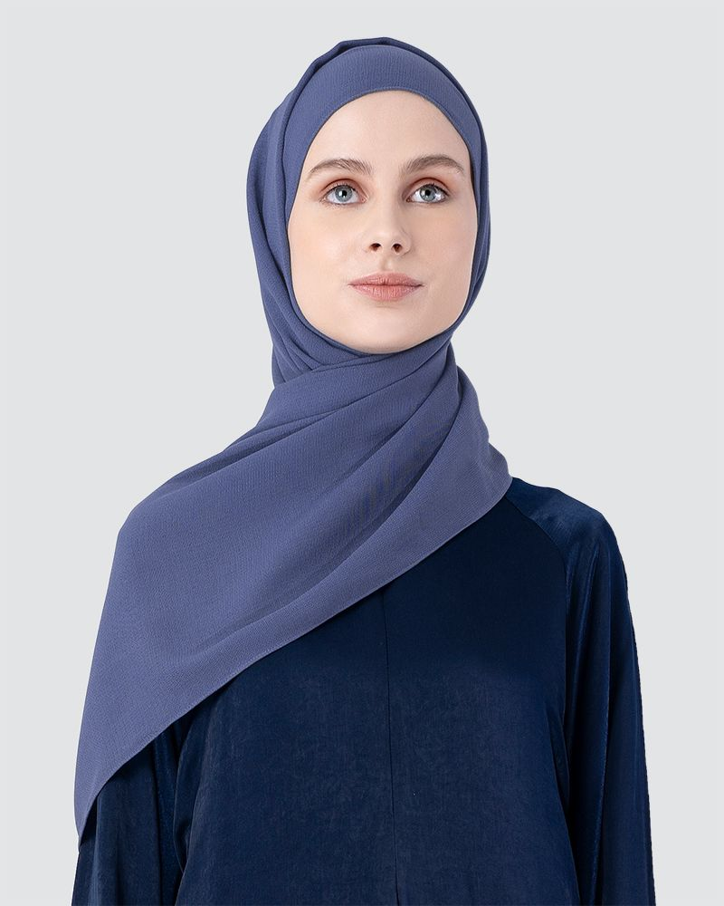 MILDA SHAWL - MEDIUM DUSTY CYAN-BLUE