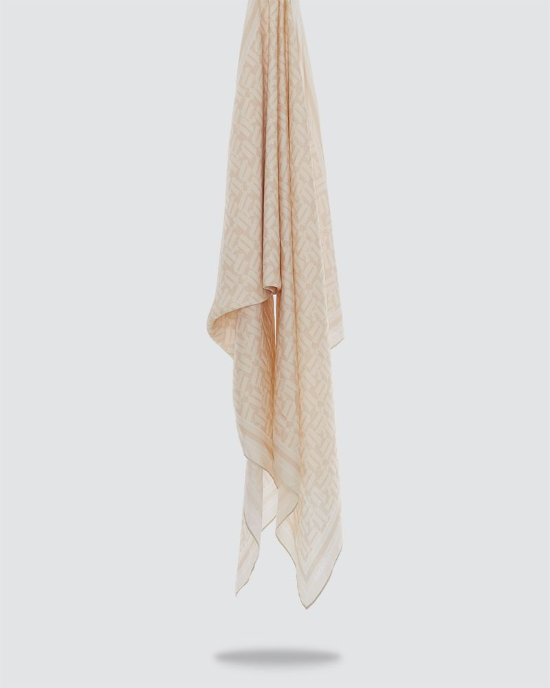 MONO PRINTED SHAWL - VERY LIGHT BROWN