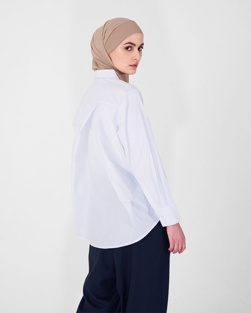 OVERLAP BACK SHIRT WHITE