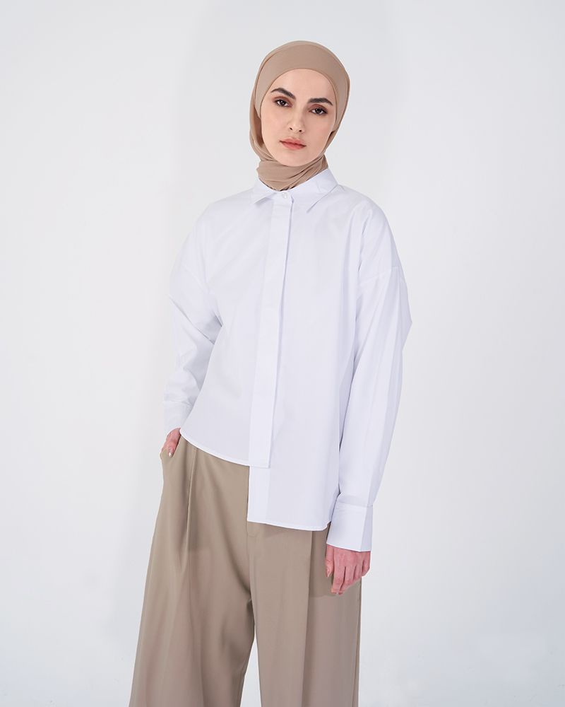 DROPPED HEM LINE SHIRT WHITE