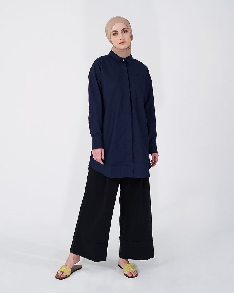 OVERSIZED SHIRT SMOKEY DARK BLUE