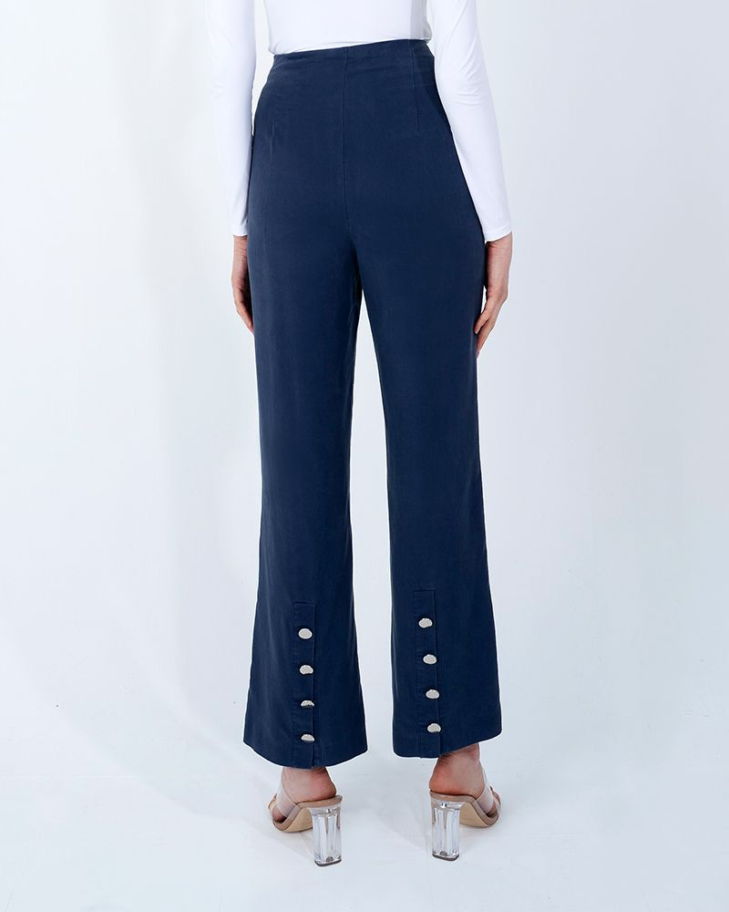 BACK SLIT TENCEL PANTS-ENSIGN BLUE