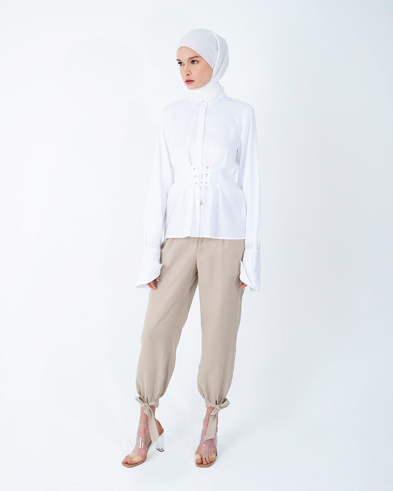 CORSET-BELT COTTON SHIRT-BRIGHT WHITE