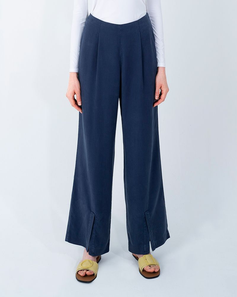 FRONT SLIT TENCEL PANTS-ENSIGN BLUE