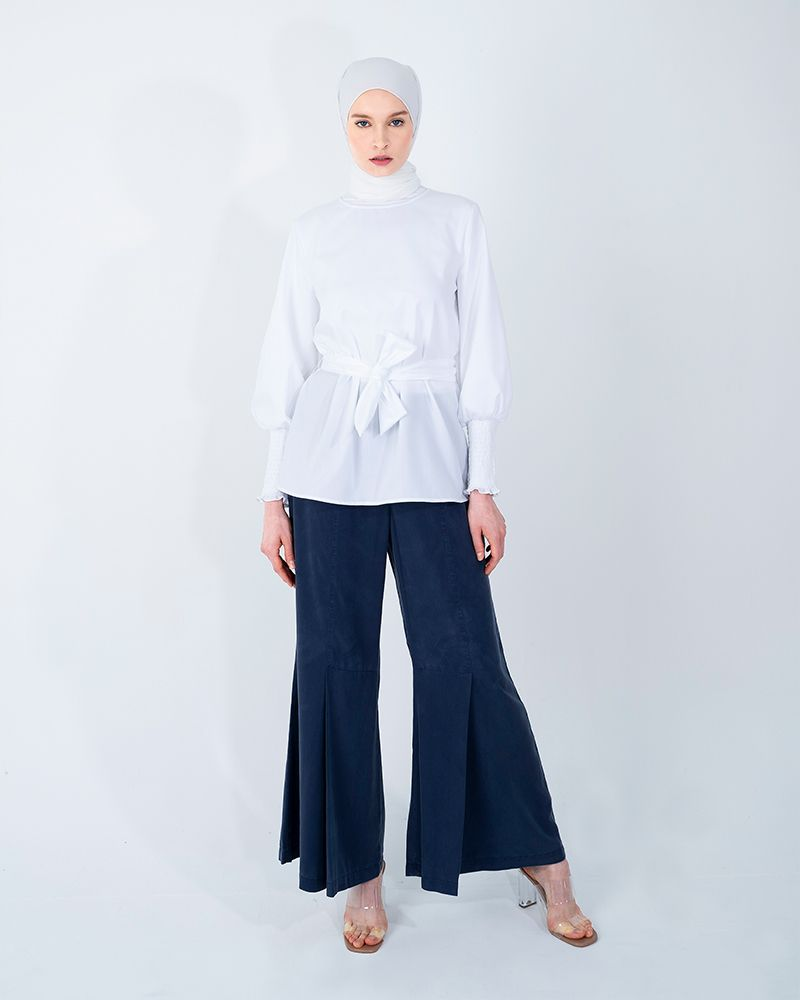 THE SMOCKING CUFFS COTTON TOP-BRIGHT WHITE
