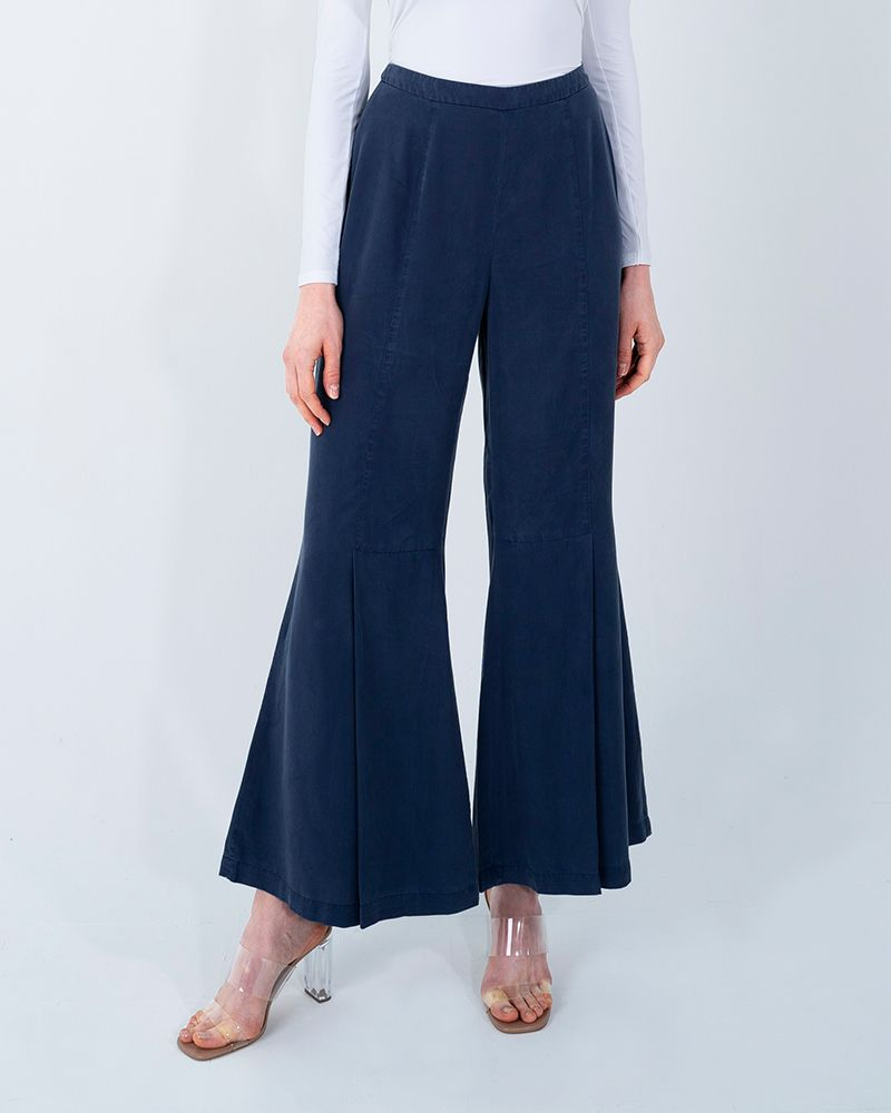 TENCEL WIDE LEG PANTS-ENSIGN BLUE