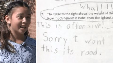 10-year-old refuses to answer 'offensive' math problem