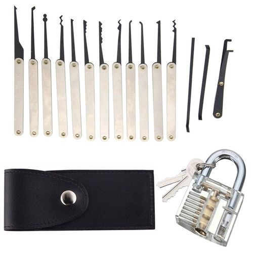 16pcs Unlocking Lock Pick Tools Set Key Extractor+Transparent Practice Padlocks