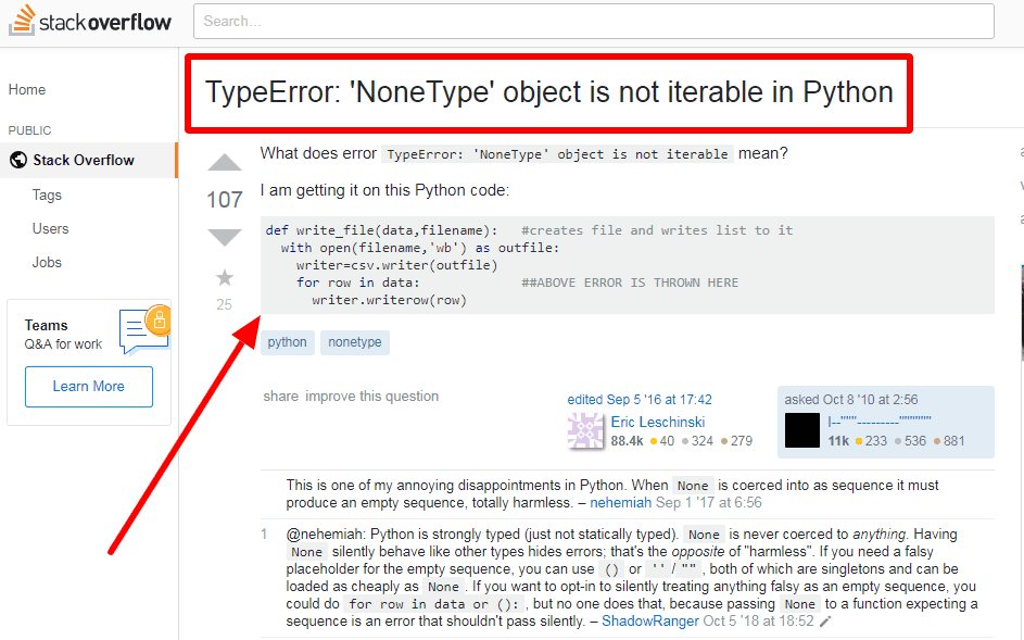 Typeerror: 'nonetype' object is not iterable problem