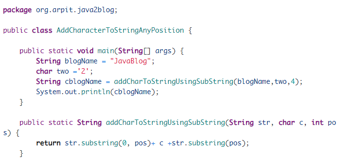example of the way to add character to string java