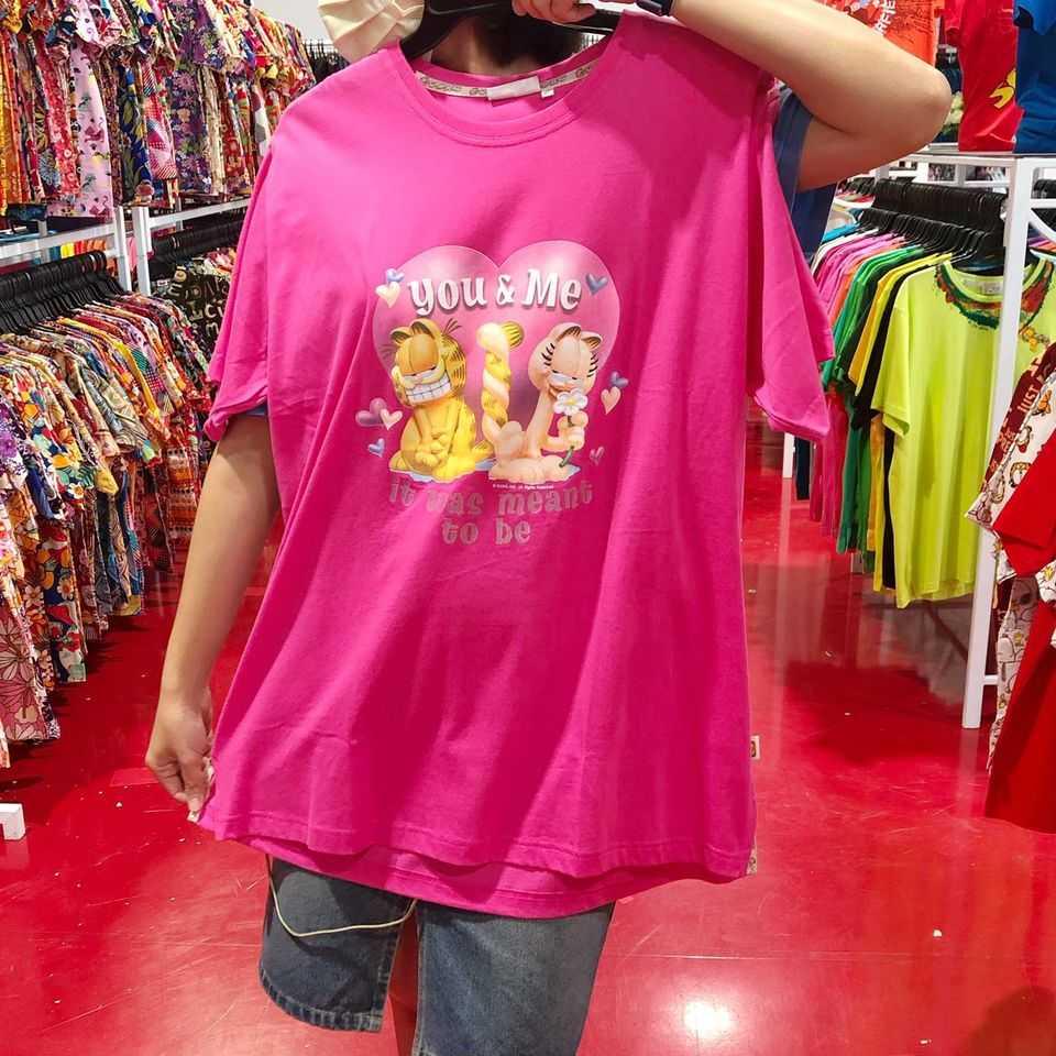 เสื้อยืดการ์ฟิดสีชมพู