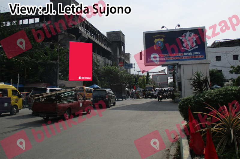 Sewa Media Billboard - Baliho Jl H M Yamin Simpang Jl Aksara - kota medan