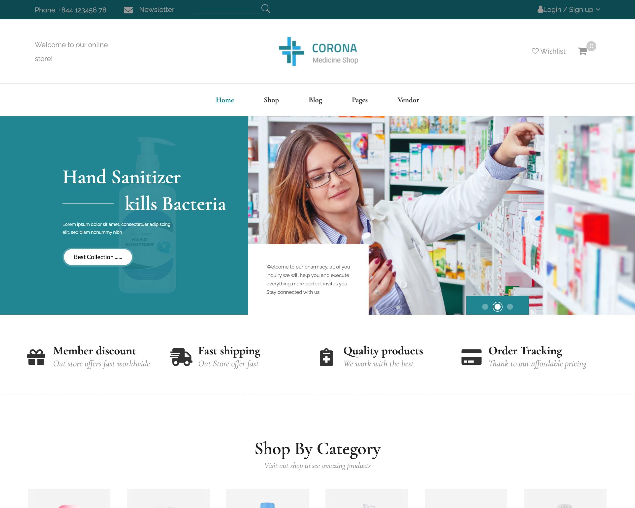 Website tiệm thuốc - cửa hàng dược phẩm