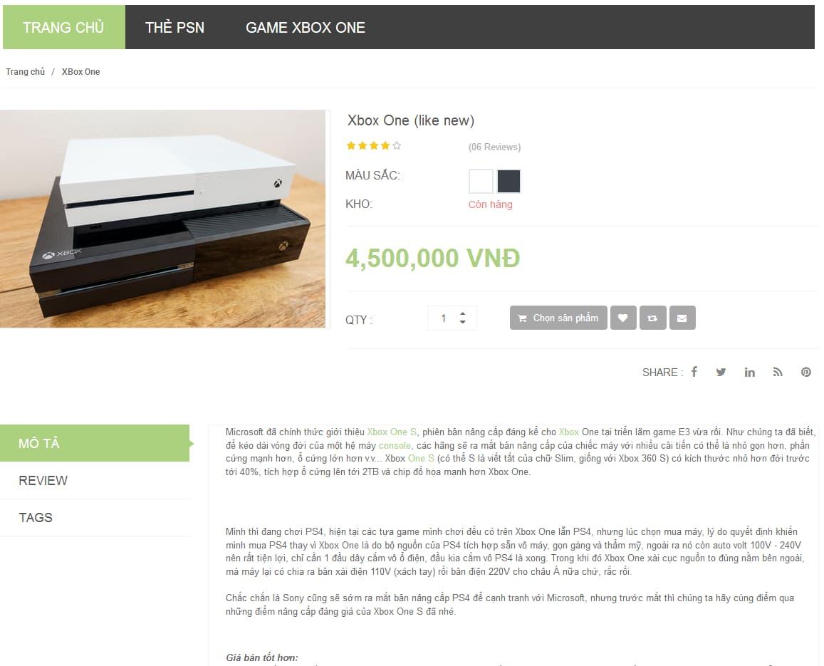 Website thương mại kinh doanh thiết bị video game-1