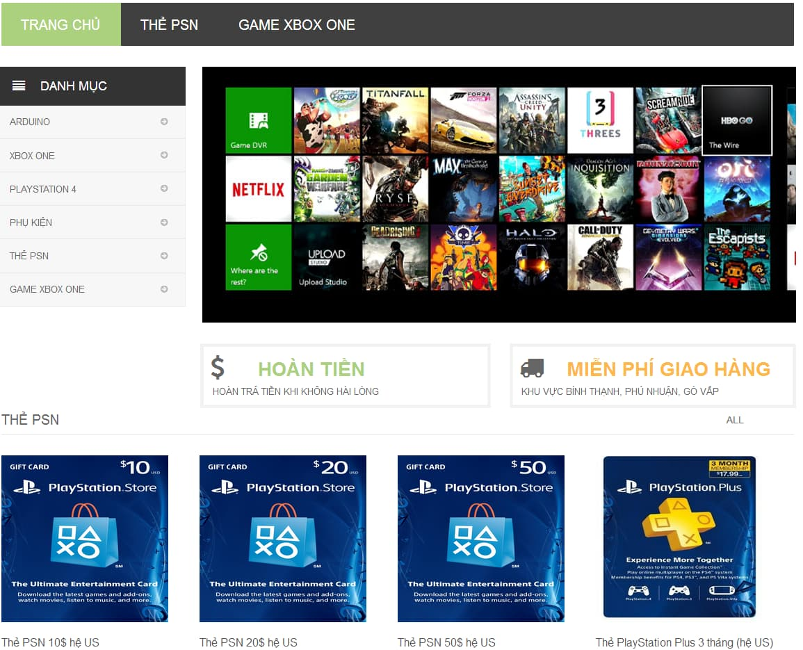 Website thương mại kinh doanh thiết bị video game