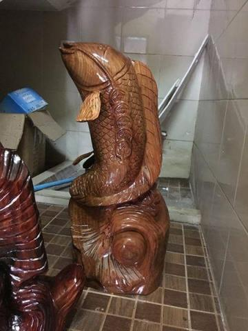 new wooden fish statue for home decoration - 1/10