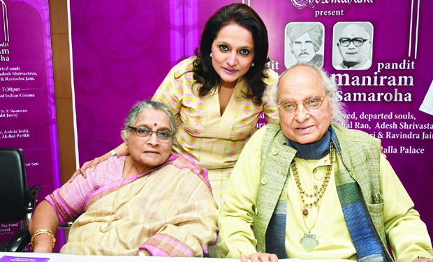Madhura with her daughter Durga and her husband Pandit Jasraj