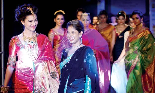Gauhar Khan with Jayanthi Ballal at the Mysore Fashion Week last year