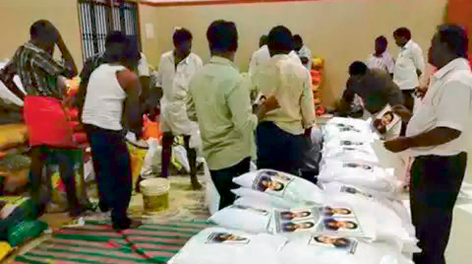 Relief material with photographs of Jayalalithaa