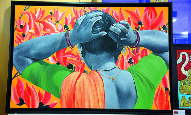 All for charity: Right, a work by Laxman Aelay and one by Thota Vaikuntam.