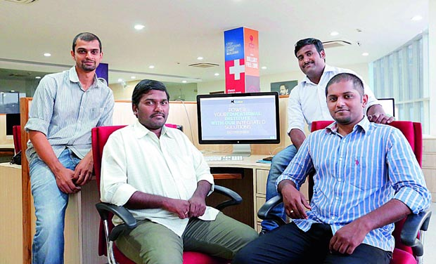Team members of Uni Halt start-up at their office in Vizag. (Photo: DC)