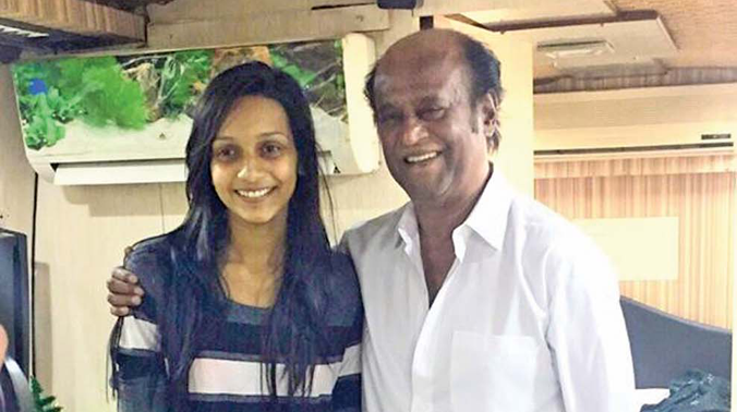 Sanjana with Rajinikanth
