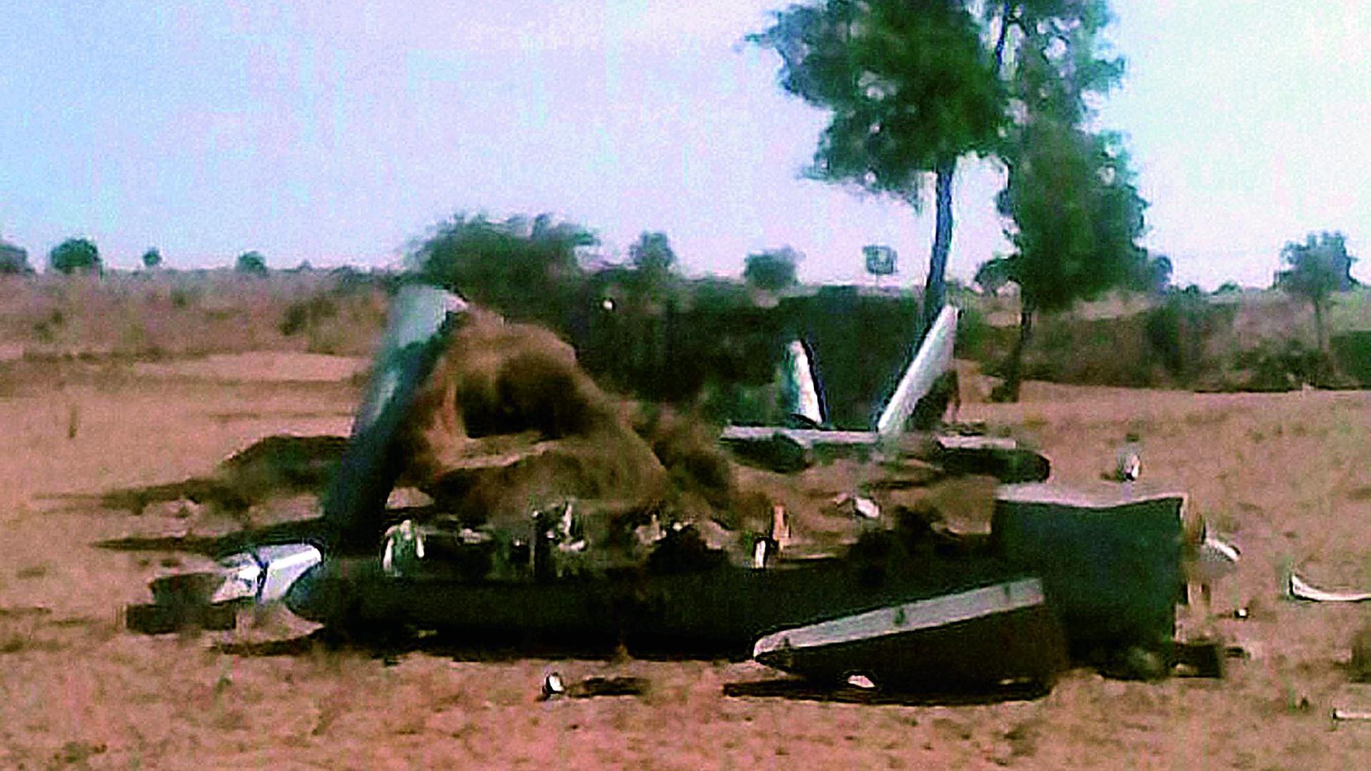 Debris of UAV Heron after it crashed in Barmer on Friday.