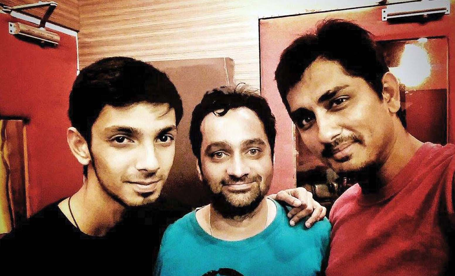 Vishal with Anirudh Ravichander and Siddharth