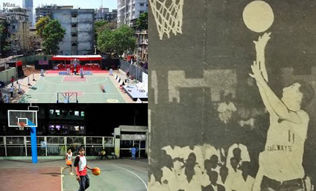 The Nagpada basketball court in Mumbai (left) has produced international players; Legendary Indian hoopster Gulam Abbas Moontasir (extreme right) - being one of them - said how the sport saved many from going astray in the area. (Photo: DC/ file)