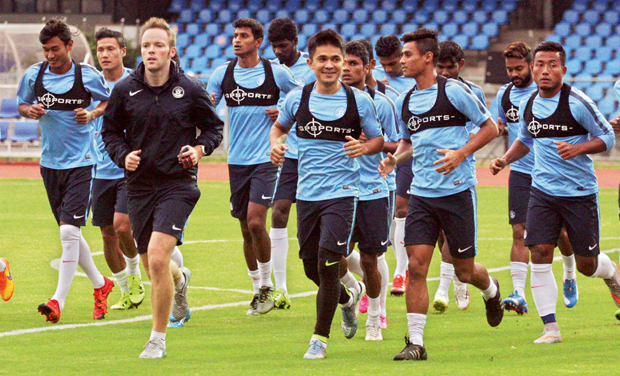 The Indian team warms up during a training session at the Sree Kanteerava Stadium in Bengaluru on Wednesday. (Photo: DC)