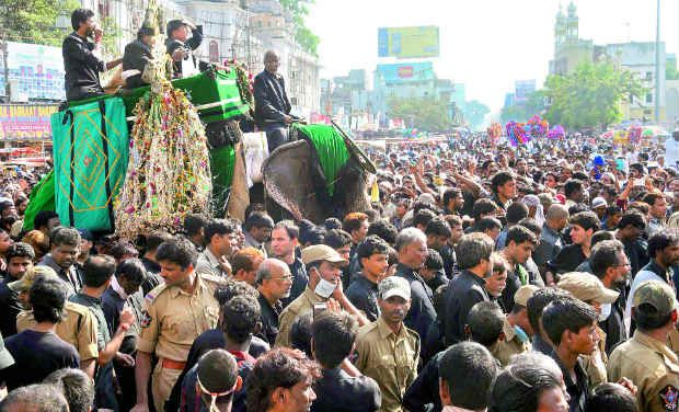 A view of the Muharram procession as it passes through Charminar in Hyderabad
