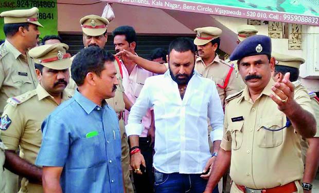 MLA Kodali Venkateswara Rao being arrested  by Gudivada police in Gudivada on Sunday. (Photo: DC)