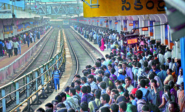 A file photograph of a terminal at Secunderabad railway station jam-packed with passengers. (Photo: DC)