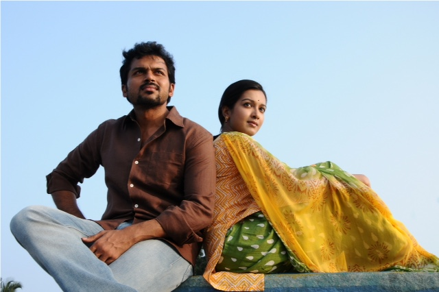 Karthi and Catherine Tresa in a still from the film.
