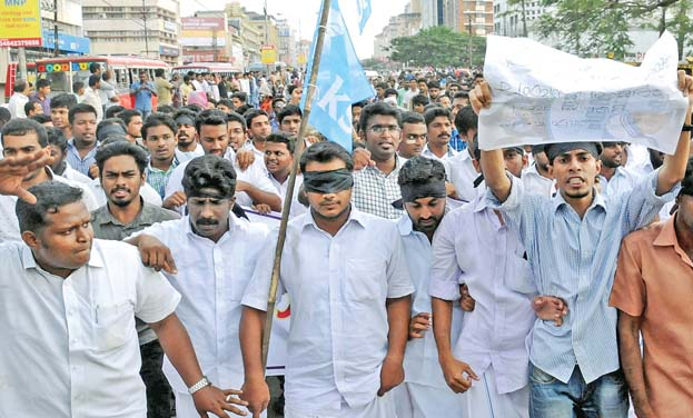 KSU and Bajrang Dal activists taking out protest against the Kiss of Love in Kochi. (Photo: ARUNCHANDRA BOSE)