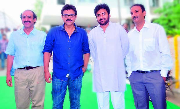 Venkatesh and Pawan Kalyan on the sets of Gopala Gopala