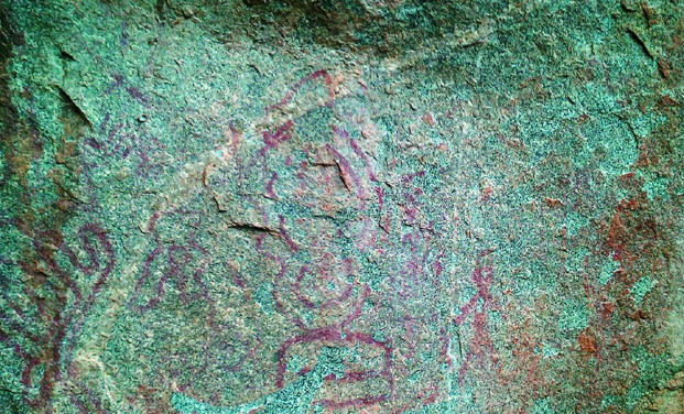 The prehistoric rock paintings which were discovered near Kadiri of Anantapuram district of Andhra Pradesh. Some pictures on rocks resemble men dancing, hunting tools, geometrical designs. (Photo: DC)