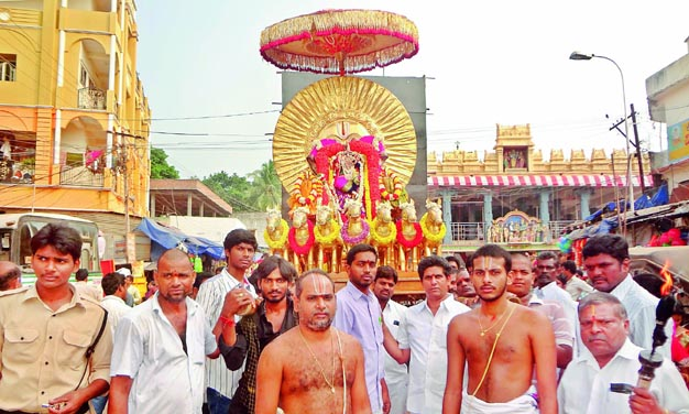 Idol of Lord Venkateswara being taken in a procession on Suryaprabha Vahanam during the Brahmotsavam at Dwaraka Tirumala in West Godavari on Sunday.