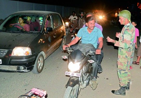 Army personnel stopping motorists from using the AOC road near Marredpally, at 10 pm.