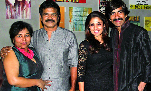 Brahmaji with Sashwaty along with Nayantara and Ravi Teja