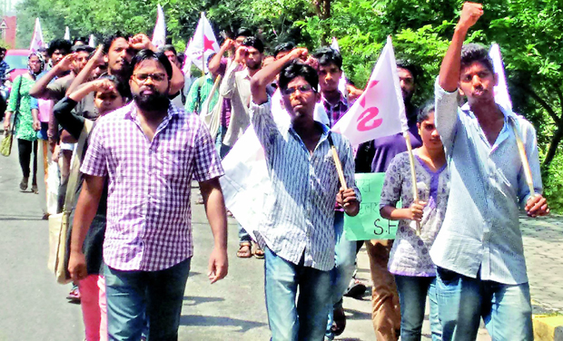 e61264ff250 Students of University of Hyderbad held a protest in campus on Monday  regarding the imposition of
