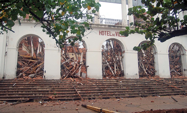 A view of 19th century building that was under renovation and collapsed due to rains in Puducherry on Saturday. (Photo: DC)
