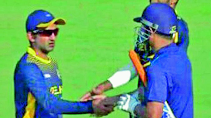 Gautam Gambhir tweeted this picture of him greeting M.S. Dhoni after the completion of the Vijay Hazare quarterfinal between Delhi and Jharkhand.