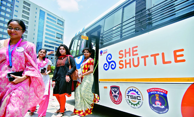 Women techies getting out of the She Shuttle at Cyberabad on Monday, (Photo: DC)