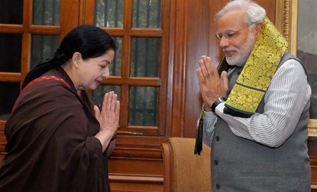 Prime Minister Narendra Modi exchanges greetings with Tamil Nadu Chief Minister J Jayalalithaa at a meeting in New Delhi on Tuesday (Photo: PTI)