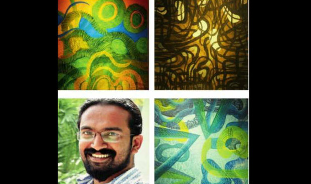Unnikrishanan T.T. (bottom left) and paintings at the exhibition.